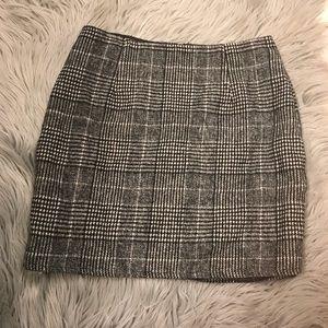 Gray wool plaid skirt